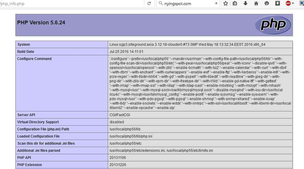 PHP INFO 5.6.24